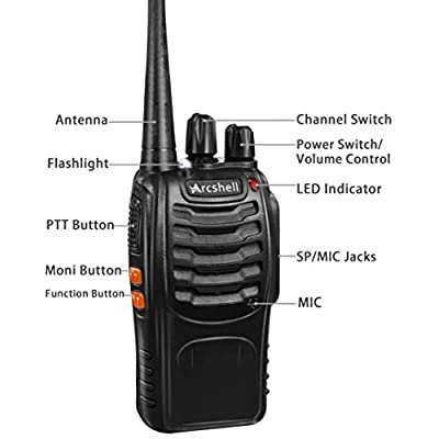 Arcshell Rechargeable Long Range Two-Way Radios with Earpiece 6 Pack UHF 400-470Mhz Walkie Talkies Li-ion Battery and Charger Included: Car Electronics