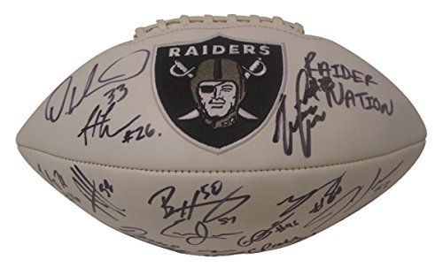 2017 Oakland Raiders Team Autographed Hand Signed Logo White Panel Football with 19 Signatures Total and Proof Photos of Signing, COA, Cordarrelle Patterson, DeAndre Washington, Jihad Ward