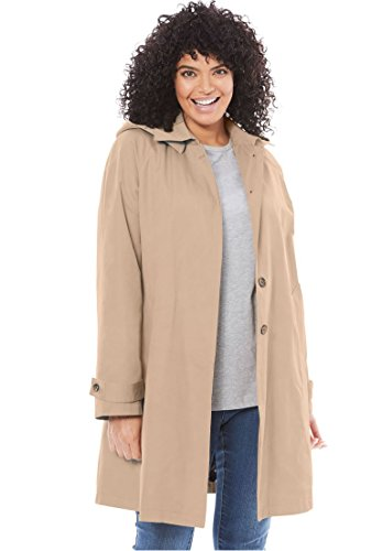 Woman Within Women's Plus Size A-Line Raincoat With Detachable Hood New Khaki,22 W - Collar A-line Coat
