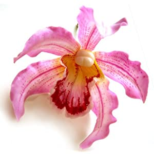 "(4) Pink Hawaiian Cymbidium Cattleya Silk Flower Heads - 4.5"" - Artificial Flowers Heads Fabric Floral Supplies Wholesale Lot for Wedding Flowers Accessories Make Bridal Hair Clips Headbands Dress 1"