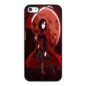 Generic Fashion Hard Back Case Cover Fit for iPhone 5 5S Cell Phone Case black RWBY ruby with Free Tempered Glass Screen Protector EUI-8485328