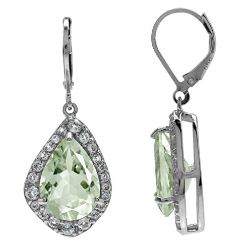 Amethyst Earrings Collection Green - HUGE 9.3ct. Natural Green Amethyst & White Topaz Gold Plated 925 Sterling Silver Leverback Earrings