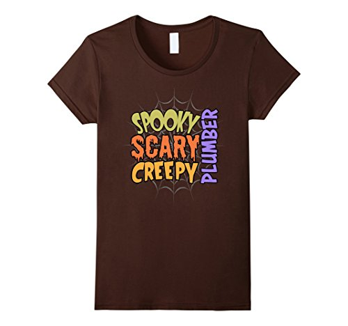 Plumber Costume Ideas - Womens Spooky Scary Creepy Plumber Halloween Costume T-shirt XL Brown