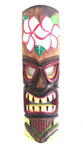 Lucky Tiki Mask (Hand Carved POLYNESIAN HAWAIIAN Tiki Mask Tropical Wall Decor Friendship & Love - LARGE SIZE - OMA BRAND (Flower))