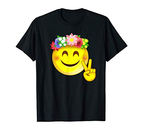 Hippie Flower Power Crown Smiley Peace Sign Emoji Smiley T-Shirt