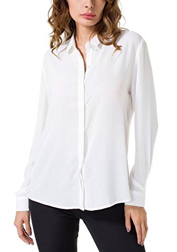 Double Plus Open DPO Women's Chiffon Casual Button Up Shirt Long Sleeve Loose Cuffed Blouse White 8 ()