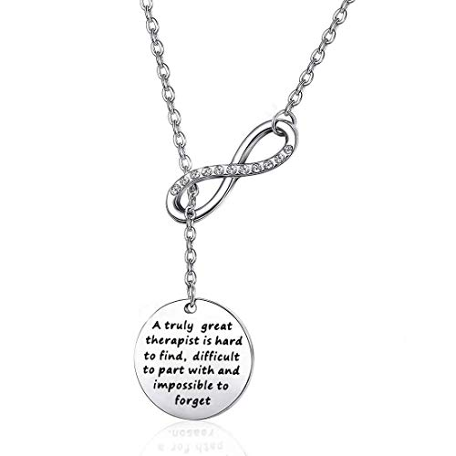 Coworker Leaving Gifts Therapist Bracelets Thank You Gift A Truly Great Therapist is Heart to Find Difficult to Part with and Impossible to Forget (Necklace) ()