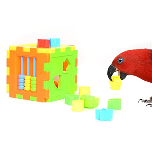 Hypeety Bird Parrot Brice Educational Training Building Block Toy Parrot Intelligence Toy Chew Toy for Macaw Budgies Parakeet Cockatoo African -