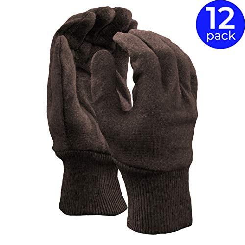 Jersey Reversible Gloves - Stauffer Brown Jersey Reversible Gloves | Two-Piece, Knit Wrist Cuff, 6 oz. Weight - (Pack of 12)