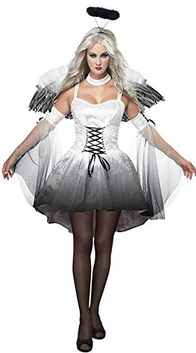 M_Eshop Halloween Costumes for Women, Darkness Angel Costume Dress Outfits (White) -