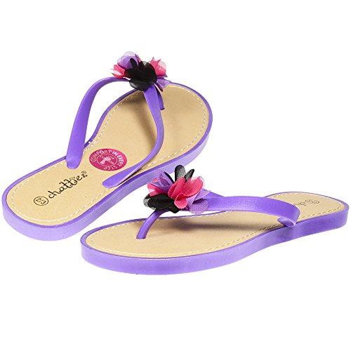 Chatties By Sara Z Jelly PCU Thong Flip Flop Sandal with Flower for Girls Big Kid Size 2-3 Purple (Big Purple Slide)