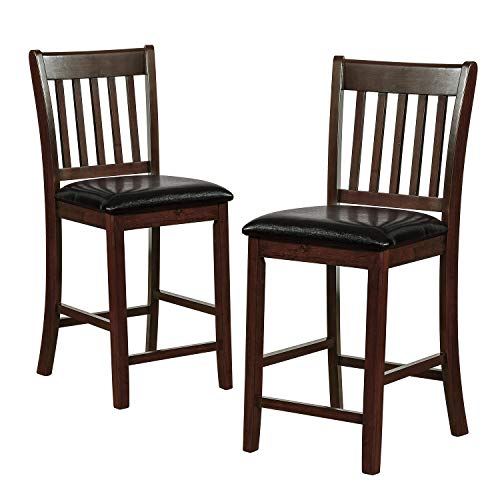 ArgoHome Pub Bar Stools Set of 2 - Leather Paded Bistro Dining Kitchen Wood Counter Height Stools Barstools Chairs (Seat Height: 25