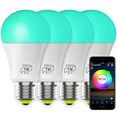 Smart Bulb LED 7W Multicolor Lights, 60W Equivalent, e27 a19, Svipear RGBCW WiFi Bulb (4 Pack), Compatible with Alexa and Google Assistant and IFTTT, No Hub Required