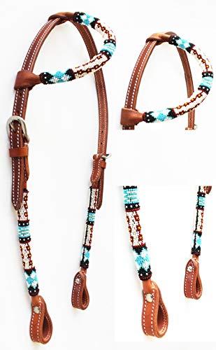 Bridle Ear (PRORIDER Horse Show Bridle Western Leather Headstall Beaded One Ear 79RT05HA)
