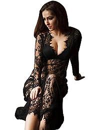a66efad76fc Sexy Deep V-Neck Lace Beach Dress See-Through Long Sleeve Maxi Dress