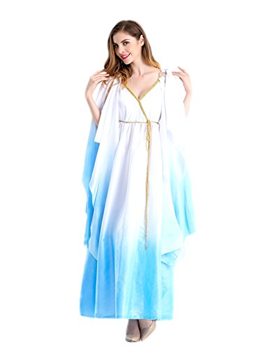 Honeystore Women's Greek Goddess Halloween Cosplay Costume Dresses White and Blue L