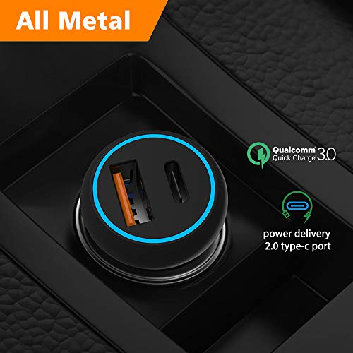 Type C USB Car Charger Power Delivery 2.0 Quick Charge 3.0 12V/24V Cigarette Lighter Outlet Adapter Car Socket Splitter with 1 PD and 1 QC 3.0 36W for iPad Pixel iPhone Samsung Cell Phone