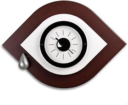 Reloj de Pared con forma de Ojo, Color Marrón/Blanco. Diseño ...