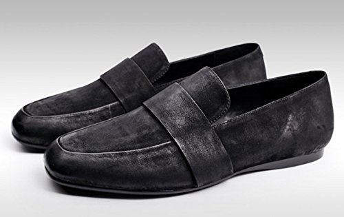 ... Happyshop Tm Menns Ettertid Skinn Moccasin Komfort Slip-on Loafers  Kjører Sko Svart ...