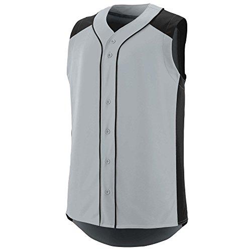 Augusta Sportswear Men's Sleeveless Slugger Baseball Jersey 2XL Silver/Black ()