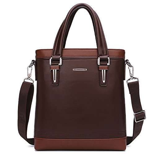 TECOOL Herren-Korn-Leder-Aktenkoffer Business Messenger Bag Vintage-Schulter-Beutel-beweglicher Schulter-Beuteltote Klassische Satchel