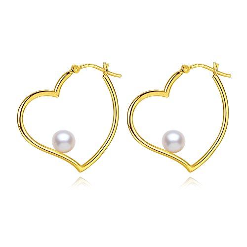 18K Gold Plated Heart Freshwater Cultured Pearl Hoop Earrings for Women (Inspired Pearl Earrings)