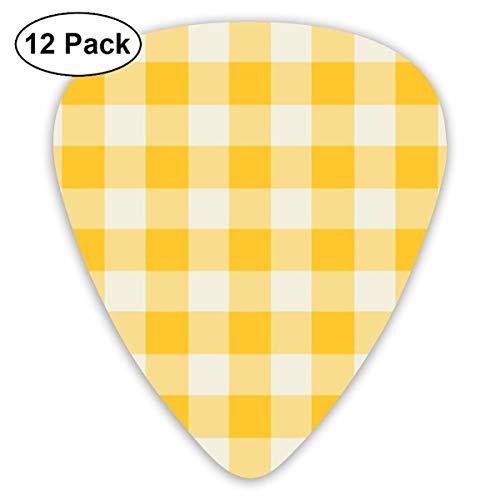 - ManIron 12 Pack Funhouse Gingham in Lemon Yellow Wallpaper (6930) Guitar Picks Complete Gift Set for Guitarist
