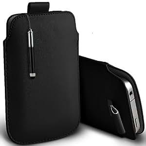 ONX3 BenQ A3 Leather Slip cuerda del tirón de la PU de protección en la bolsa Quick Case Desc y Mini capacitiva lápiz bolígrafo retráctil (Negro)