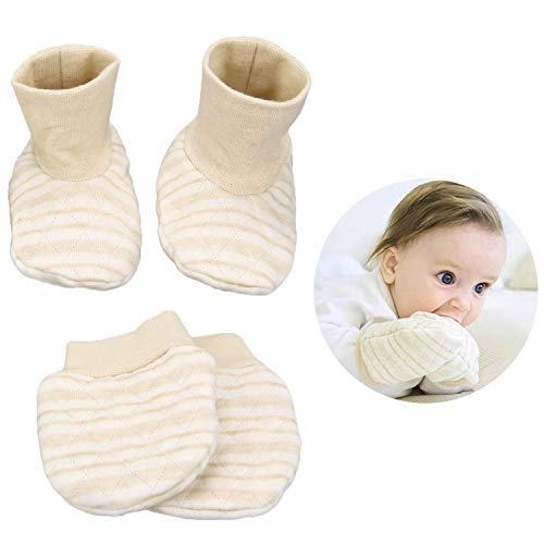 (Folamer Baby Gloves and socks, 0-6months Newborn Infant Toddler 100% Cotton, No Scratch Mittens,shoes, More Soft and Thick)