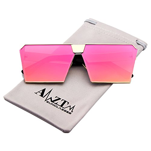 AMZTM Square Oversized Polarized Metal Sunglasses Women Fashion REVO Mirrored Reflective Lens Driving Glasses (Golden Frame and Red Lens, - Shades Stylish