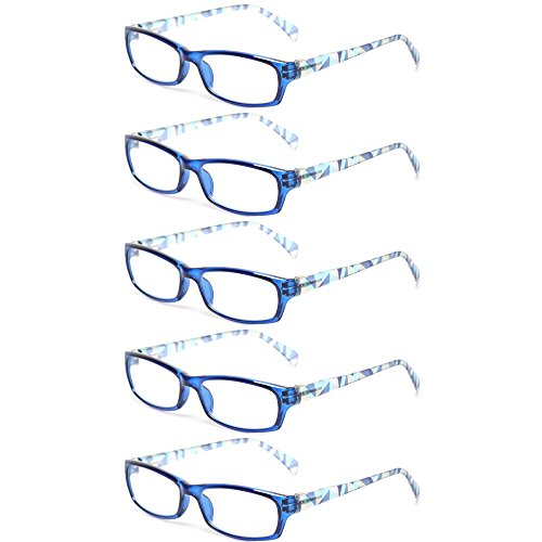 Reading Glasses 5 Pairs Fashion Ladies Readers Spring Hinge with Pattern Print Eyeglasses for Women (5 Pack Blue, 3.0)