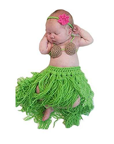 Pinbo Baby Girls Boys Knitted Crochet Headband Bra Hula Skirt Photography Prop]()