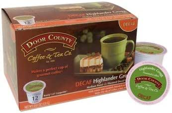 Door County Coffee, Single-Serve Cups for Keurig Brewers, Highlander Grogg Decaf, 12 count