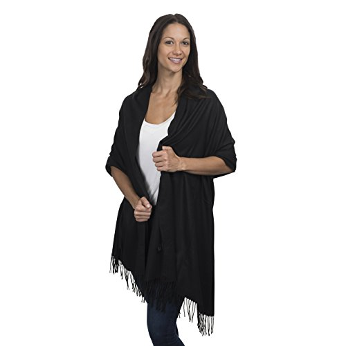 Cashmere & Class Large Soft Cashmere Scarf Wrap - Womens Winter Shawl + Gift Box (Black) ()