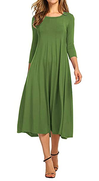Women 3/4 Sleeve Casual Swing Flared Midi Long Dress