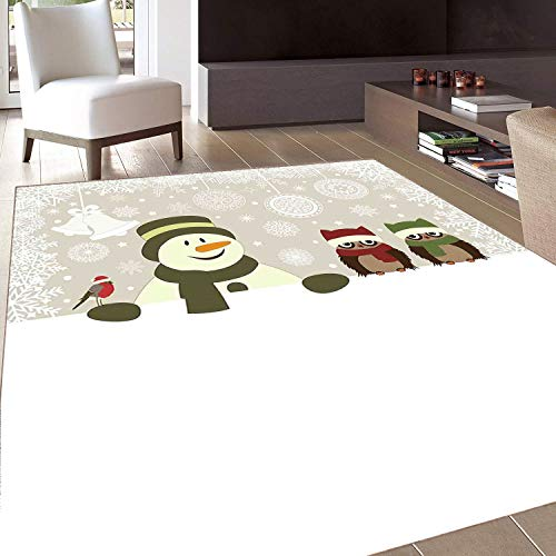 Rug,FloorMatRug,Christmas,AreaRug,Snowman and Owls in Snowy Winter Day with Jingle Bells and Snowflake Figures Image,Home mat,5'8