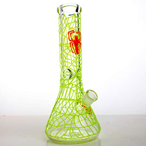 11-inch Handmade Glass Crafts, Glass Big Water Chamber - Easy to Grip and with Ice Shelf, Unique Design(Spider Web Glows in The Dark) by SgooYi (Image #5)