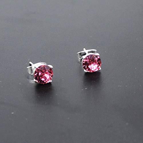 Per Donne 6mm Aaa Le Rosa Rosso Crystal 925 Ksqs Sterling Da Orecchini Placcato Swarovski Silver qvx7wXF