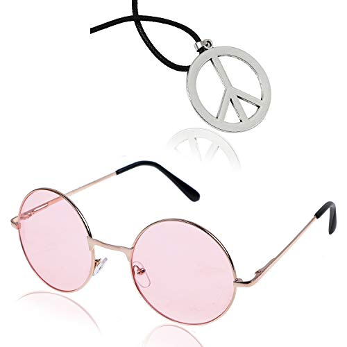 AOPOO Hippie Accessory Party Set- Hippie Sunglasses and Peace Sign Necklace for 60's or 70's Themed Party,Pink ()