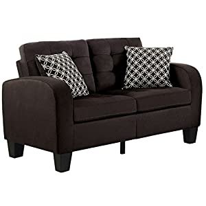 Homelegance Sinclair Tufted Accent Loveseat with Two Geometric Pattern Toss Pillows
