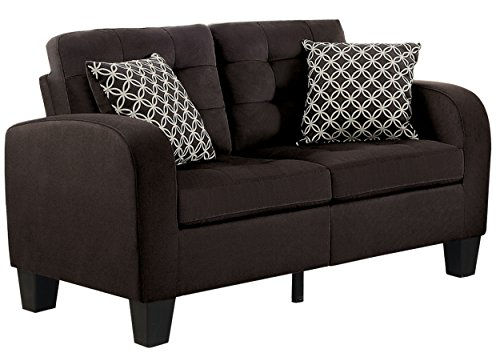 Homelegance Sinclair Tufted Accent Loveseat with Two Geometric Pattern Toss Pillows, Chocolate