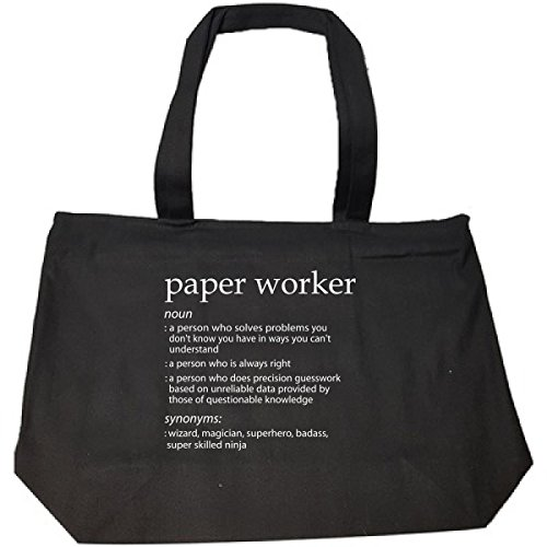 Paper Worker Profession Meaning Funny Gift - Tote Bag With Zip (Paper Anniversary Meaning)