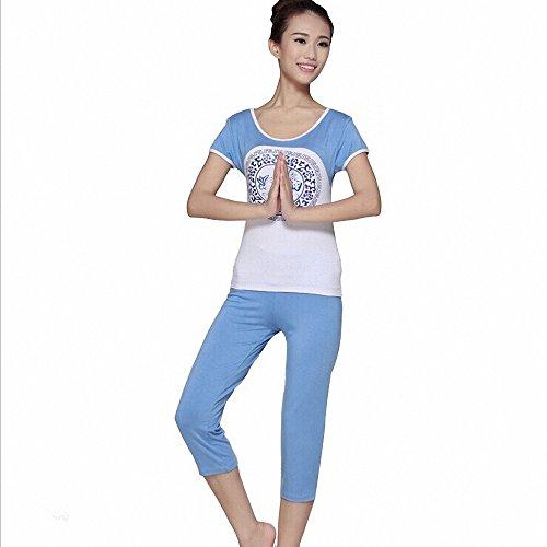 Anna Yoga Fitness Modal Yoga Clothing For Ladies, High Quality Yoga Accessories Show Your Slim Body(Capri Pants + Light Blue + XL)