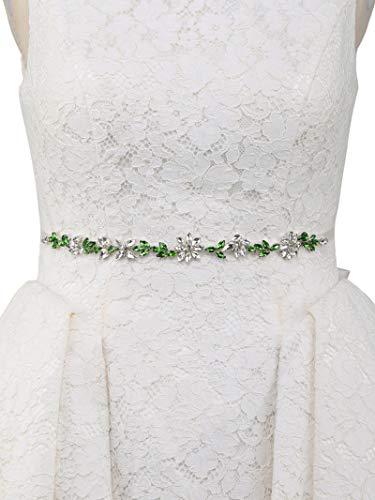 AW BRIDAL Handmade Wedding Belt Green Rhinestone Belt Crystal Pearl Jeweled Bridal Sash Belt