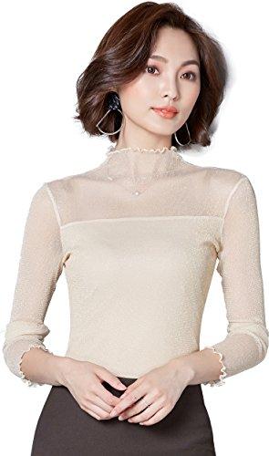 Ababalaya Women's Sexy Retro Turtleneck Glitter Sheer Lace Long Sleeve Blouse Top Clubwear,Beige,L -