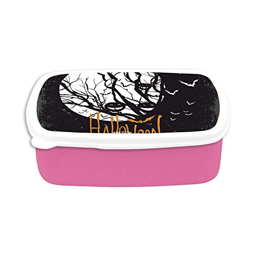 Vintage Halloween Utility Plastic Lunch Containers,Halloween Themed Image with Full Moon and Jack o Lanterns on a Tree Decorative for Home,7.09
