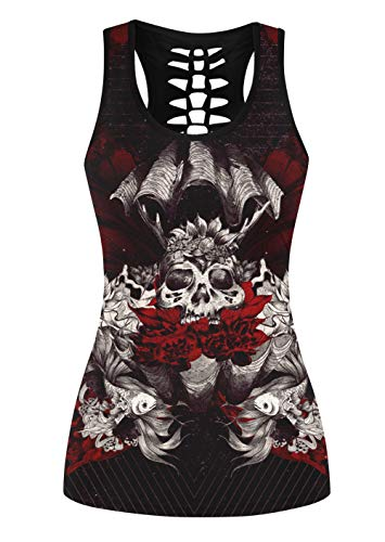 Aivtalk Women s Crew Neck Print Tank Racerback Hollow Out T-Shirts 3D  Digital Sleeveless Tops aeab289e3fc