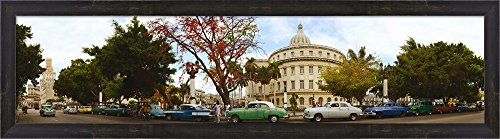 Vintage cars parked on a street, Havana, Cuba by Panoramic Images Framed Art Print Wall Picture, Espresso Brown Frame, 40 x 11 - Pictures Havana Brown