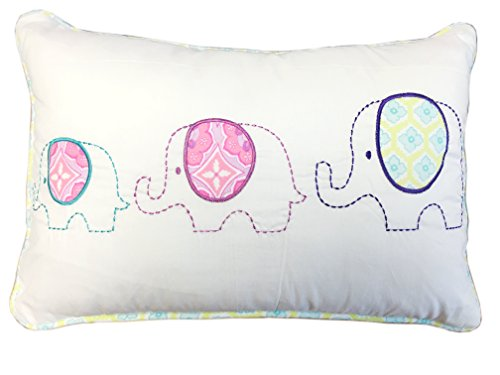 Price comparison product image Cozy Line Home Fashions Cute Rectangle Throw Pillow,  Embroidered Elephant Print Pattern Stuffed Toy Doll Decorative Pillow,  100% Cotton,  Gifts for Kids,  Girls(3 Elephants,  Decor Pillow -1pc)