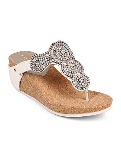 Liliana DF53 Women Leatherette Medallion Rhinestone Thong Cork Wedge Sandal
